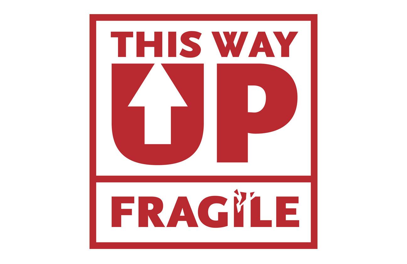 fragile + this way up sticker