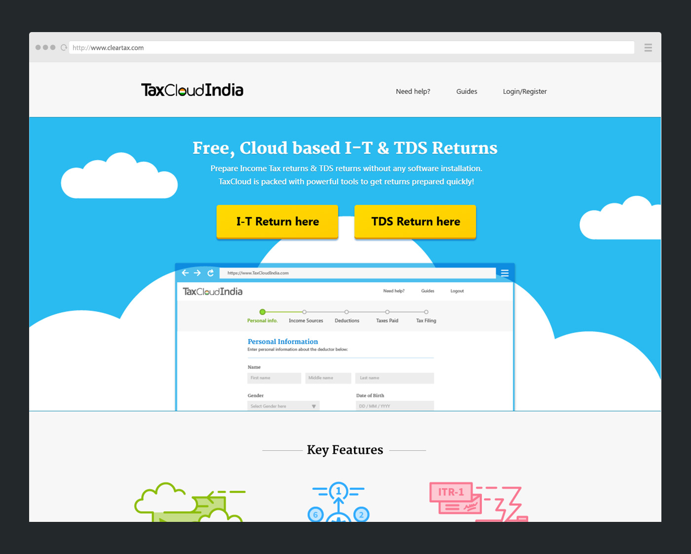 TaxCloud home page design: Header