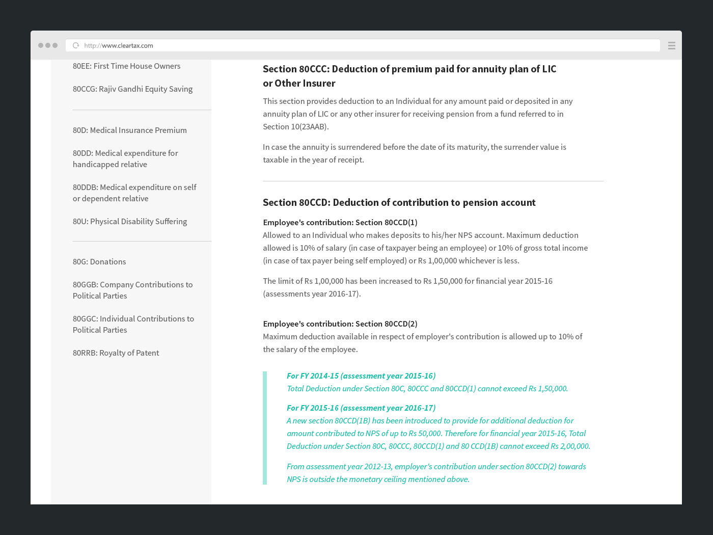 Suggestive layout for Guide page design, fixed sidebar