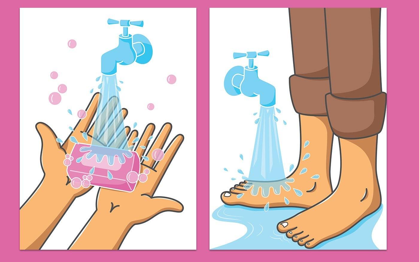 Hand & Feet wash Illustrations